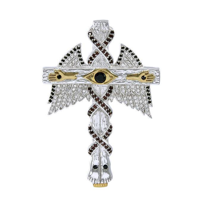 Believe in thy Cross ~ Dali-inspired fine Sterling Silver Jewelry Pendant in 14k Gold accent peterstone.