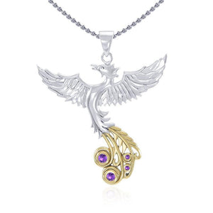 Soar as high as the Flying Phoenix ~ Sterling Silver Jewelry Pendant with 14k Gold and Crystal Accents MPD2912