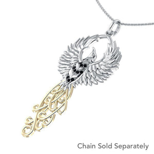 The Rise of the Mystical Fire Bird Sterling Silver and 14 Kt Gold Pendant