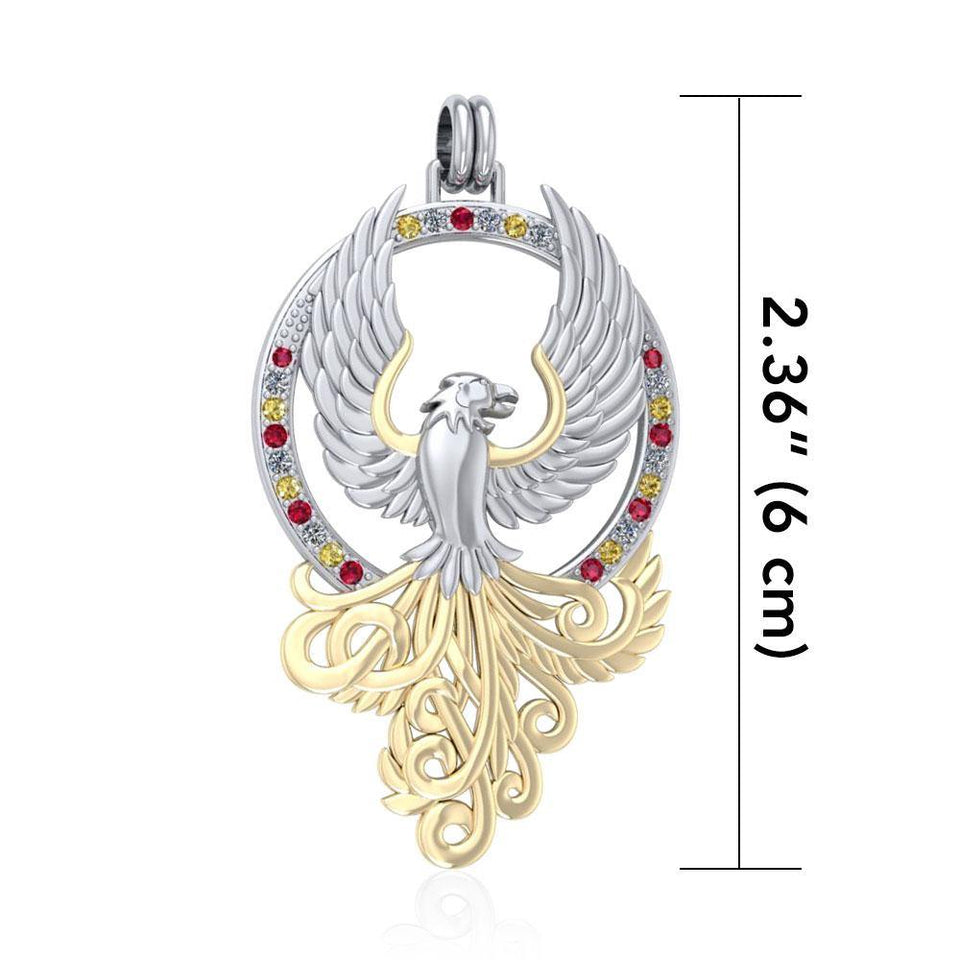 Majestic Phoenix Silver and Gold Pendant MPD2916