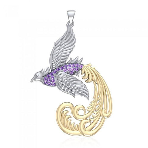 Multifaceted and Alighting Phoenix ~ Sterling Silver Jewelry Pendant with 14k Gold and Crystal Accents peterstone.
