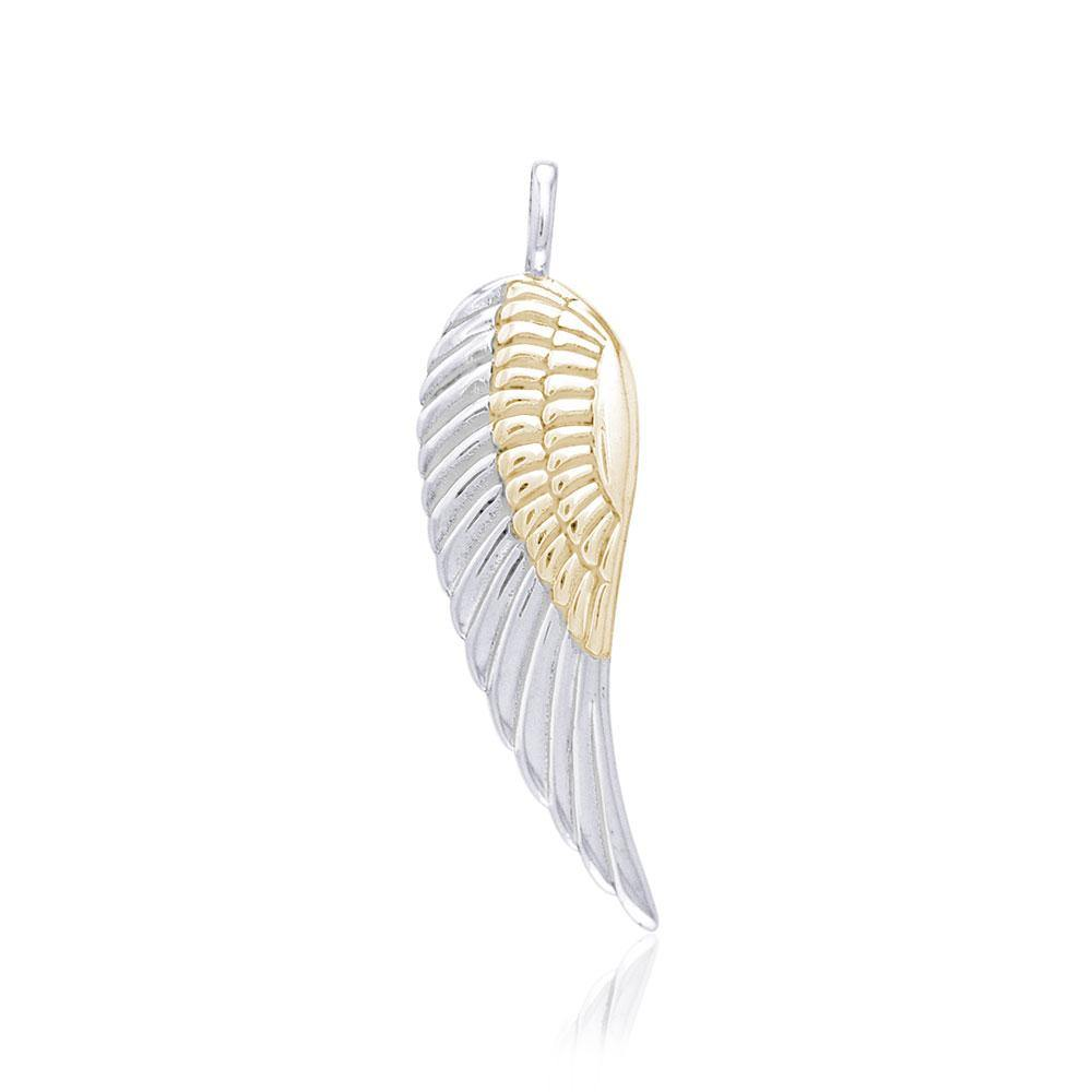 Angel Wing Silver and Gold Pendant MPD2932 peterstone.