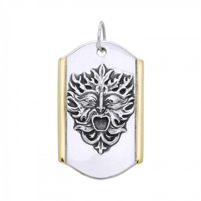 Silver and Gold Green Man Pendant MPD3129 peterstone.