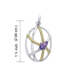 Contemporary Design Sterling Silver and Gold Pendant MPD3552 peterstone.