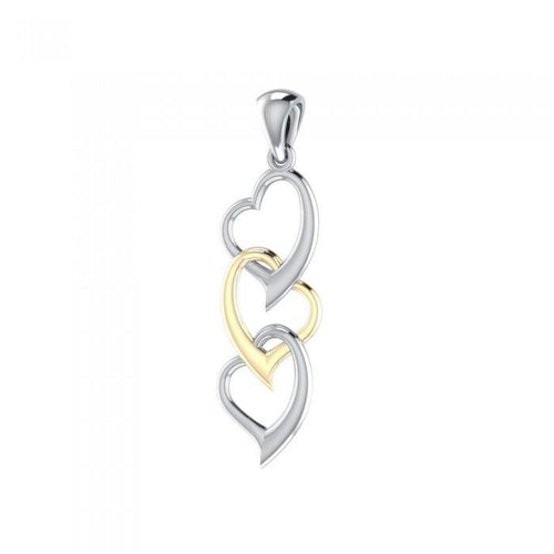 3 Hearts Together Silver and Gold Pendant MPD3602 peterstone.