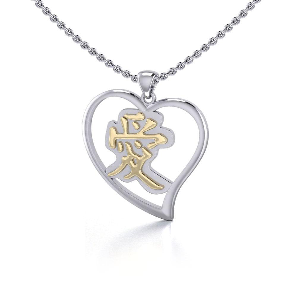 Love Feng Shui Heart Silver and Gold Pendant MPD3782