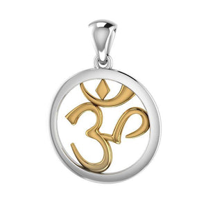 Om Gold Accent Silver Pendant MPD3848 peterstone.