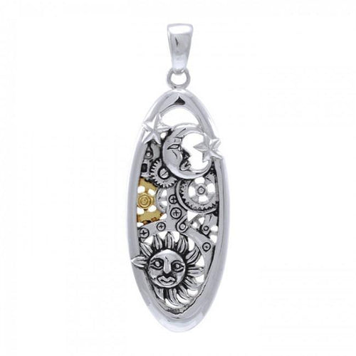 Moon Sun and Star Steampunk Sterling Silver Pendant MPD3904 peterstone.
