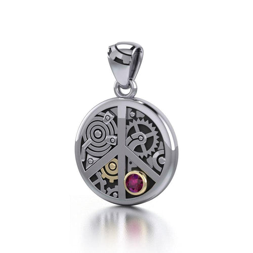 Peace Symbol Steampunk Sterling Silver and Gold Accent Pendant MPD3926 peterstone.