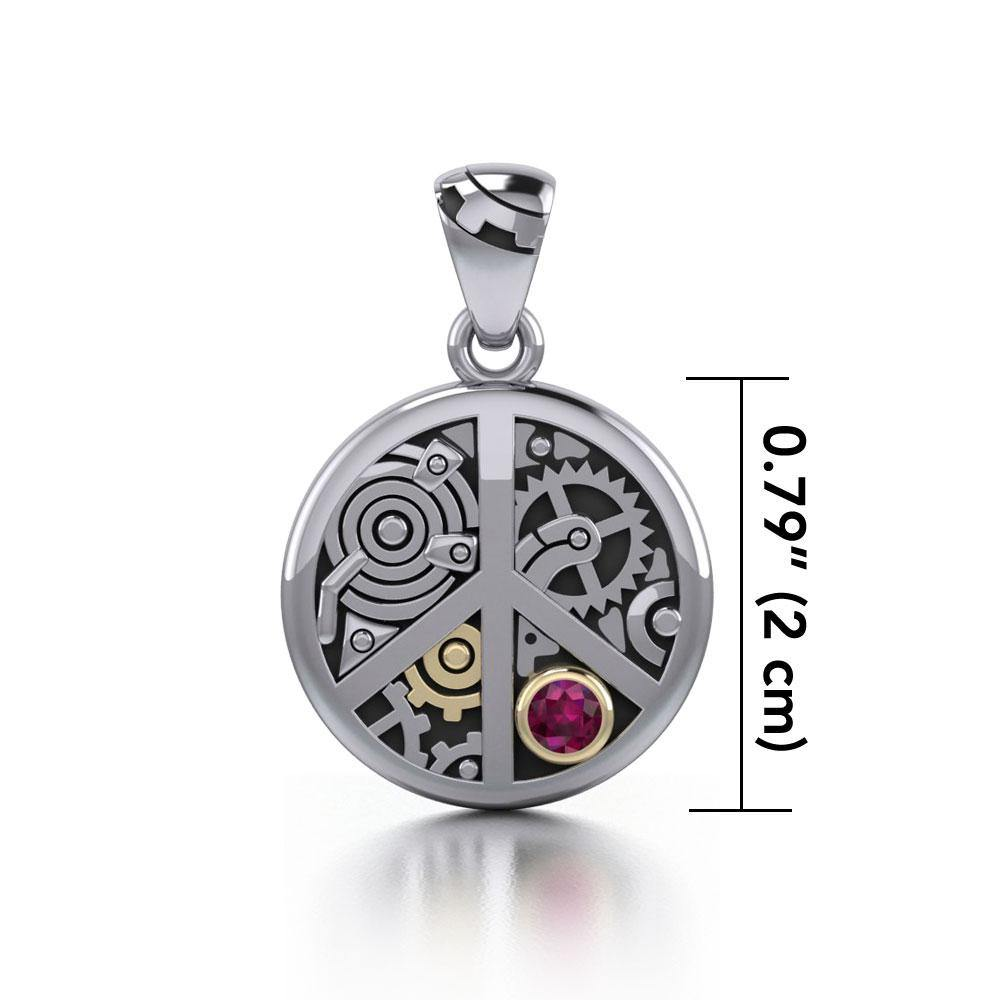 Peace Symbol Steampunk Sterling Silver and Gold Accent