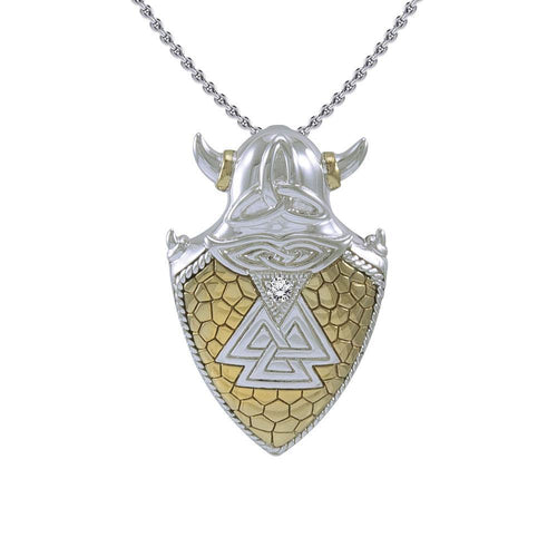 Viking Valknut Shield Silver and Gold Vermeil Pendant MPD4395 peterstone.
