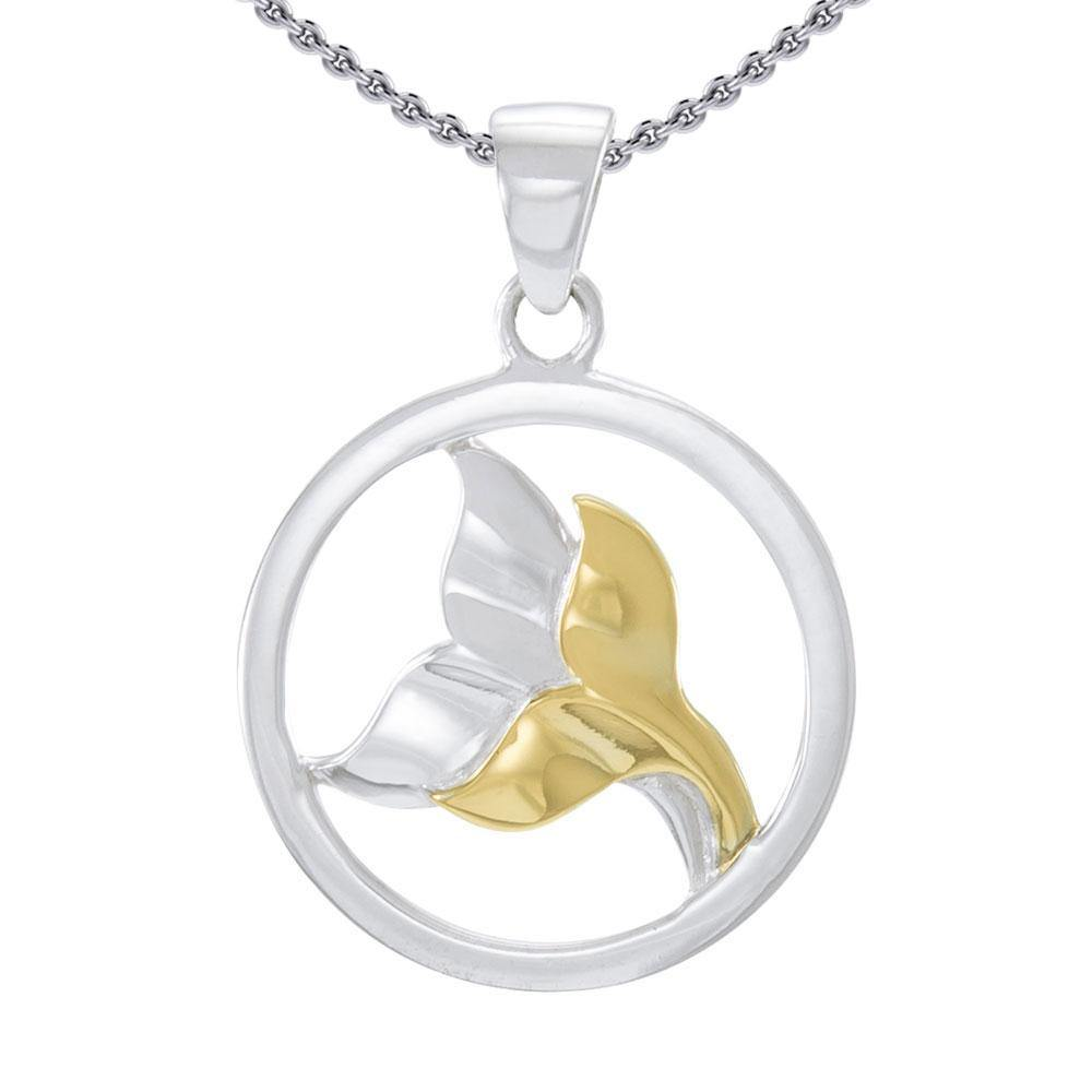 Double Whale Tail Sterling Silver and Vermeil Gold Accent Pendant MPD4421