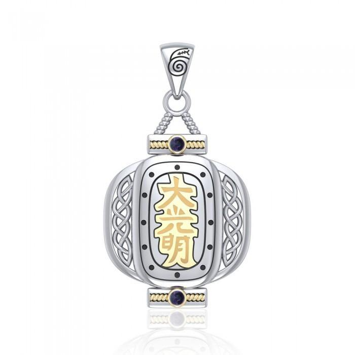 The Reiki Dai Ko Myo Japanese Lantern Silver and Gold Pendant with Gemstone