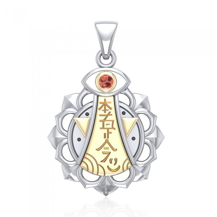 Chakra and Reiki Distance Healing Silver and Gold Pendant with Gemstone MPD4929 peterstone.