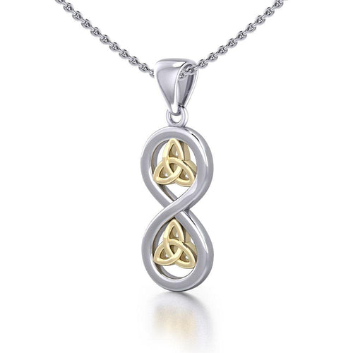 Infinity with Trinity Knot Silver and Gold Pendant MPD5210 peterstone.
