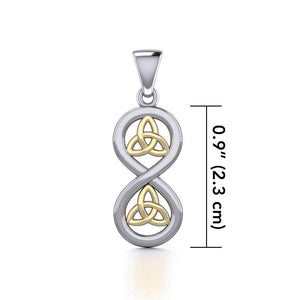 Infinity with Trinity Knot Silver and Gold Pendant MPD5210