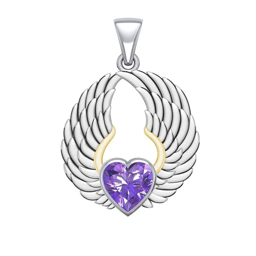 Gemstone Heart and Angel Wings Silver and 14K Gold Plated Pendant MPD5223 peterstone.