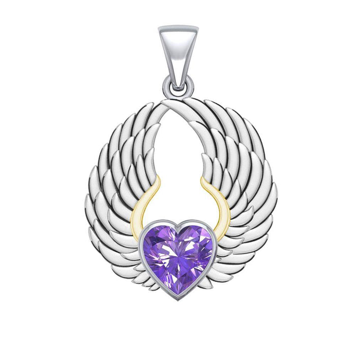 Gemstone Heart and Angel Wings Silver and 14K Gold Plated Pendant MPD5223