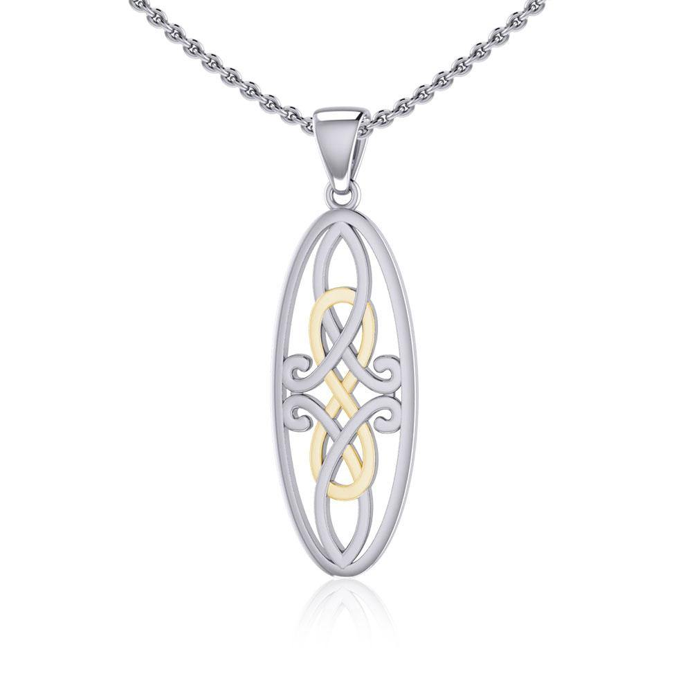 Celtic Woven Design in Oval Shape Silver and Gold Pendant MPD5233 peterstone.