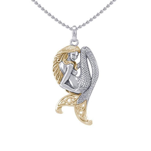 Celtic Mermaid Goddess Sterling Silver ad Gold Pendant MPD5256 peterstone.