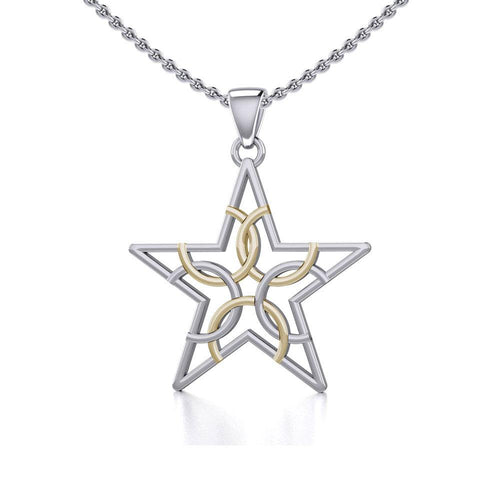 The Fifth Circle with Star Silver and Gold Pendant MPD5264 peterstone.
