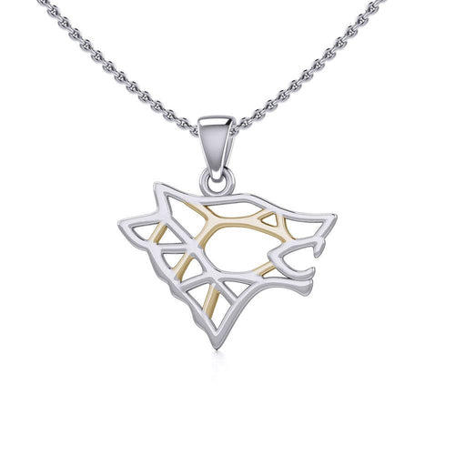 Geometric Wolf Silver and Gold Pendant MPD5270 peterstone.