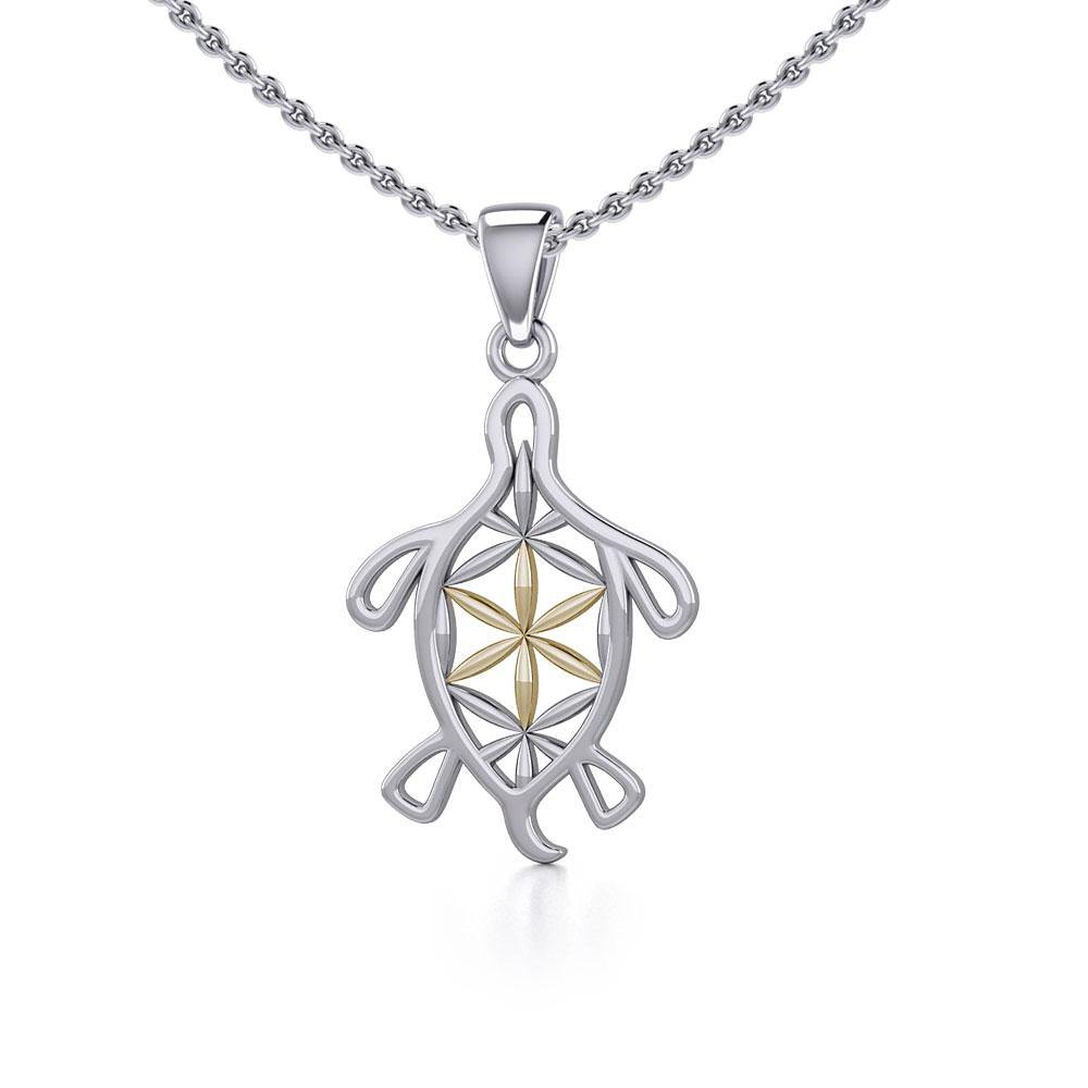 Turtle with Flower of Life Shell Silver and Gold Pendant MPD5271