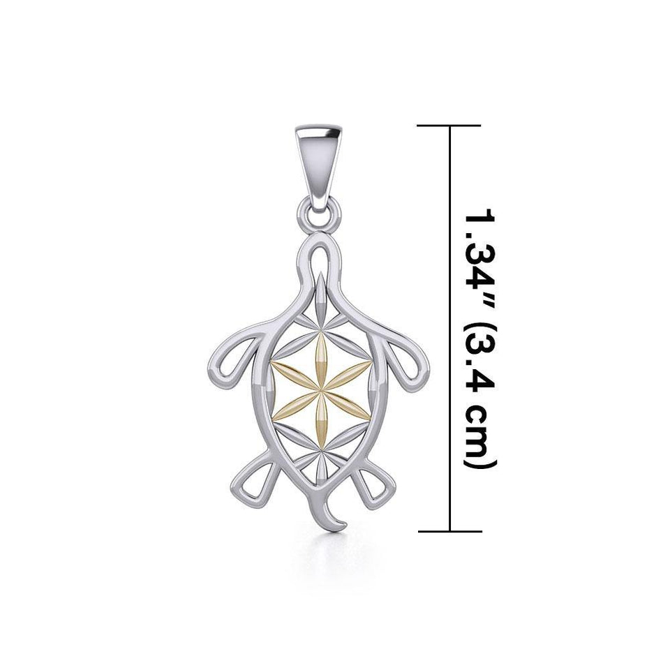 Turtle with Flower of Life Shell Silver and Gold Pendant MPD5271 peterstone.