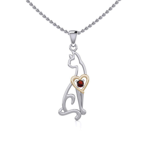 Lovely Heart Cat Silver and Gold Pendant with Gem MPD5273 peterstone.