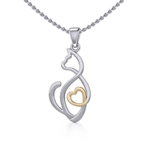 Running Cat with Golden Heart Silver Pendant MPD5280 peterstone.