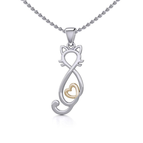 Cat with Golden Heart Silver Pendant MPD5281 peterstone.