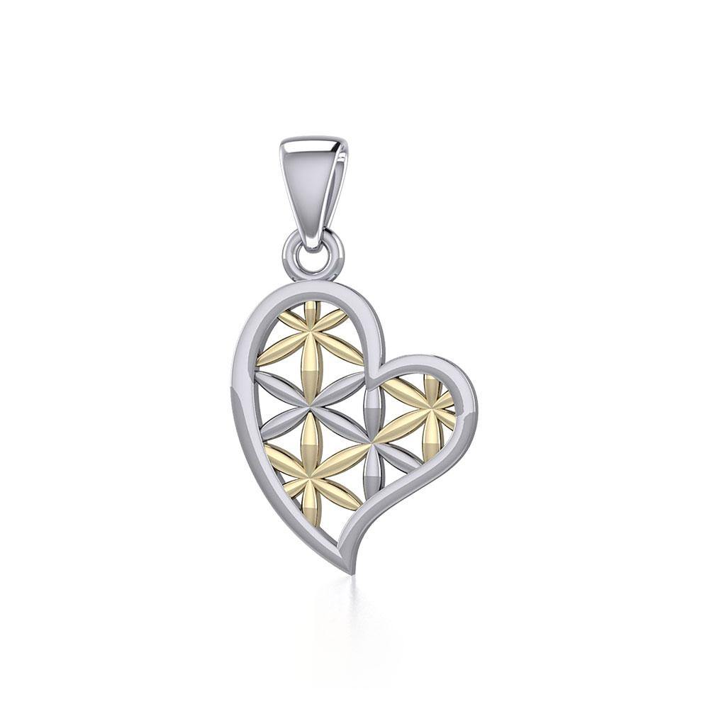 Silver and Gold Heart with Flower of Life Pendant MPD5284
