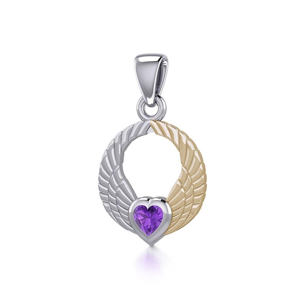 Double Angel Wings Silver and 14K Gold Plate Pendant with Gemstone MPD5286