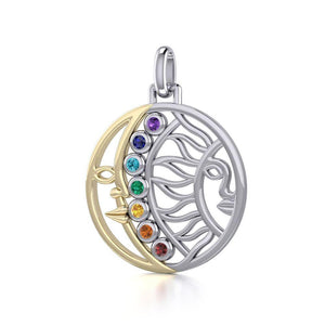 Sun and Moon Silver and Gold Pendant with Chakra Gemstone MPD5290 peterstone.
