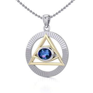 Eye of The Pyramid Silver and Gold Pendant MPD5297 peterstone.