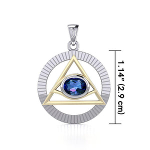 Eye of The Pyramid Silver and Gold Pendant MPD5297