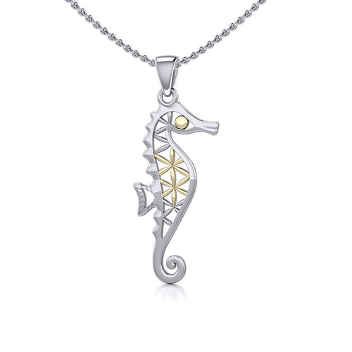 Silver and Gold Flower of Life Seahorse Pendant MPD5299