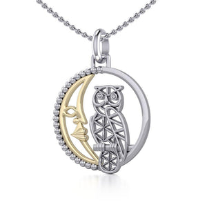 Silver Flower of Life Owl on The Golden Crescent Moon Pendant MPD5301 peterstone.