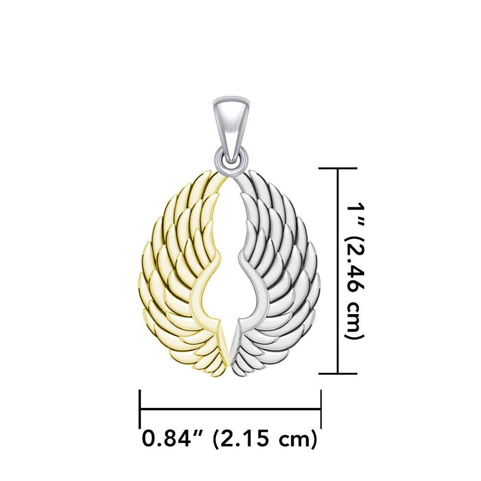 14 Karat Gold Plated on Sterling Silver Angel Wings Pendant MPD5332 peterstone.