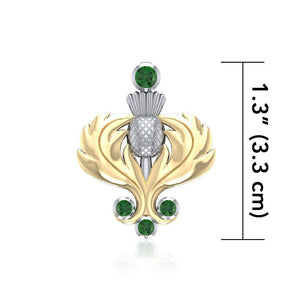 A noble elegance ~ Sterling Silver Scottish Thistle Pendant Jewelry in 18k Gold accent and Gemstones MPD682