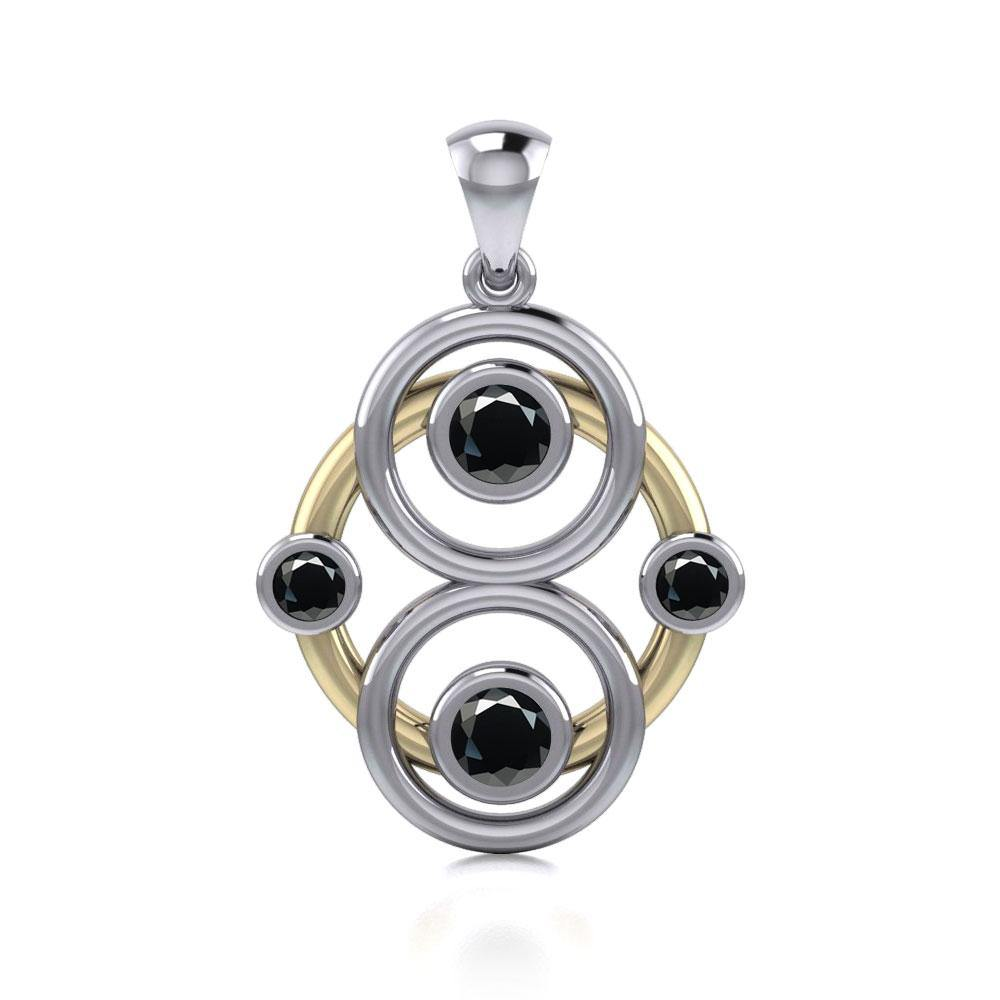 Triple Circles Blaque Silver and Gold Pendant MPD809
