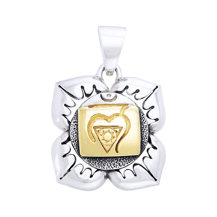 Muladhara Root Silver and Gold Chakra Pendant MPD910 peterstone.