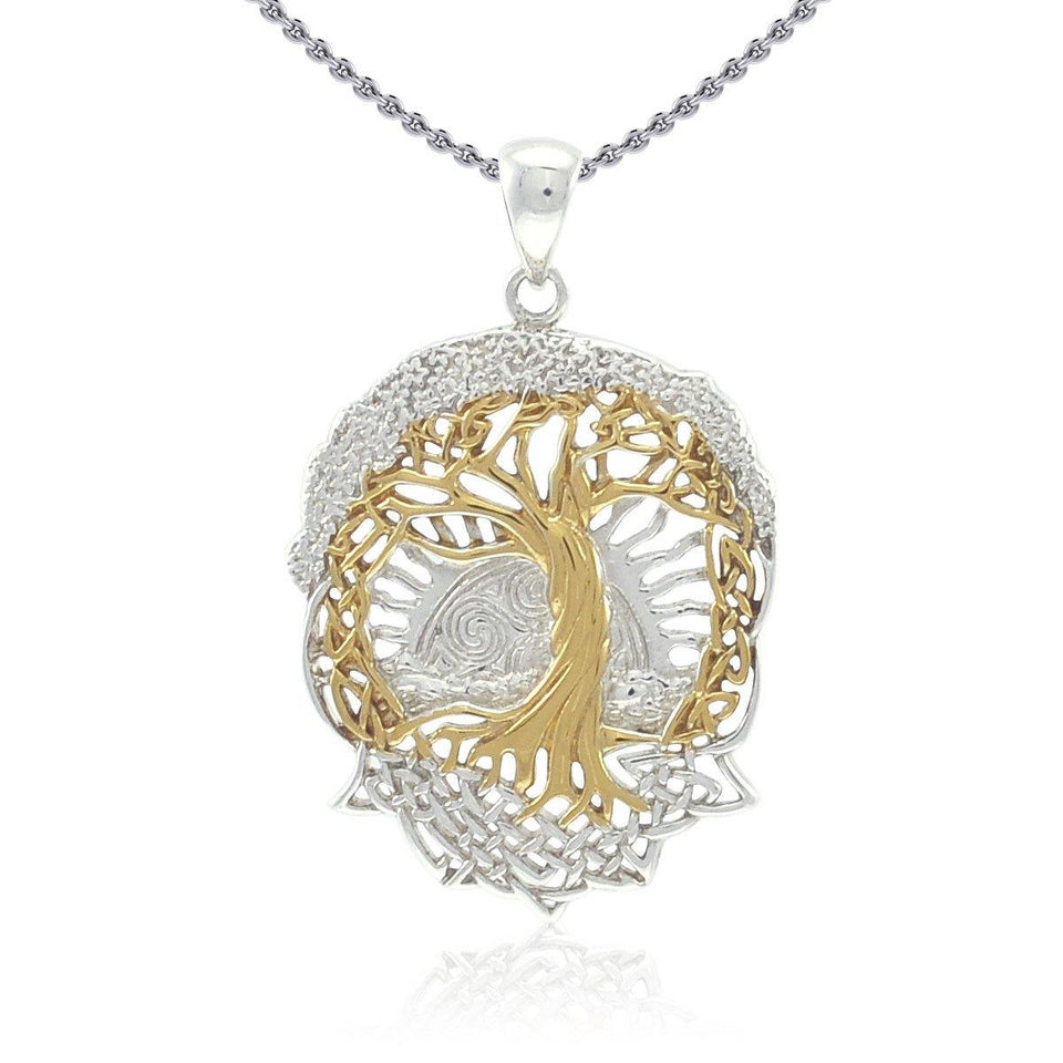Live Beautifully with the Tree of Life ~ Sterling Silver Jewelry Pendant with 14k gold accent MPD974