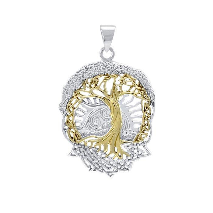Live Beautifully with the Tree of Life ~ Sterling Silver Jewelry Pendant with 14k gold accent MPD974 peterstone.