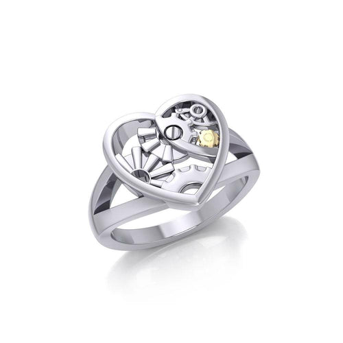 Heart Steampunk Sterling Silver and Gold Ring MRI1258 peterstone.