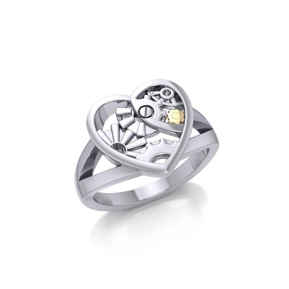 Heart Steampunk Sterling Silver and Gold Ring
