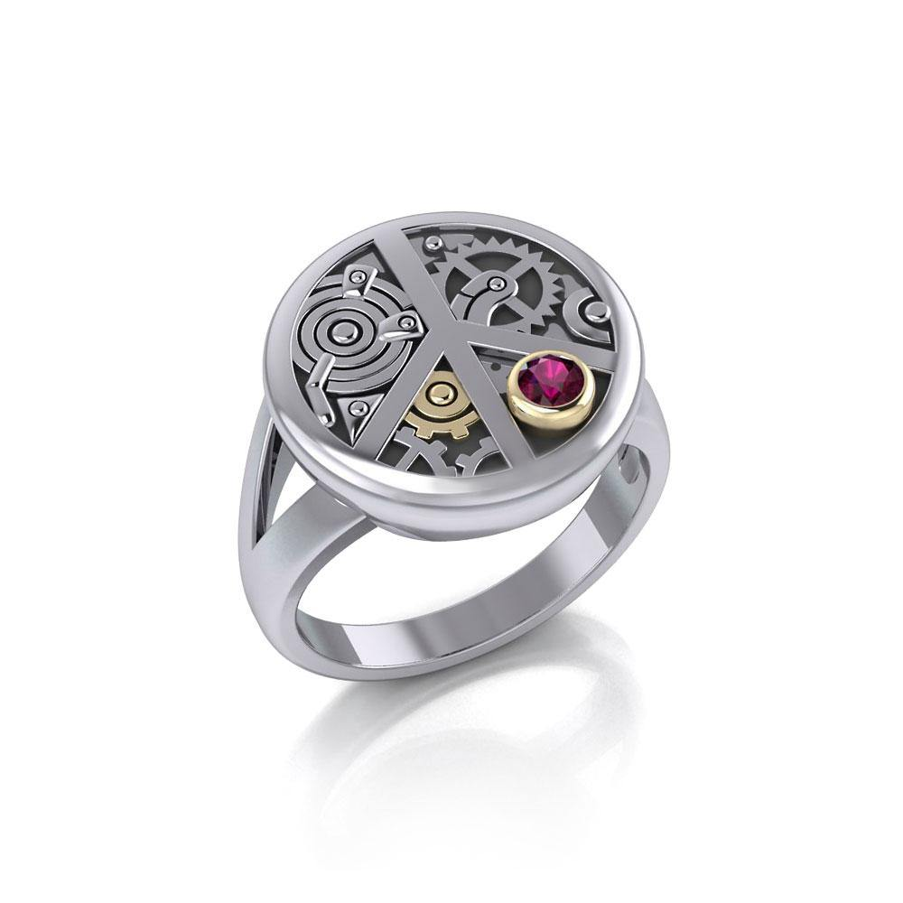 Peace Steampunk Sterling Silver and Gold Ring