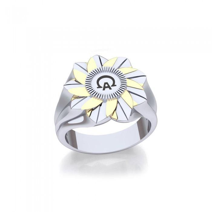 Alpha And Omega Sterling Silver and Gold Ring MRI1576