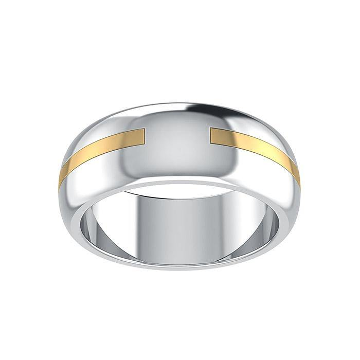 Sterling Silver and Gold Engraved Ring MRI1648 Custom Word