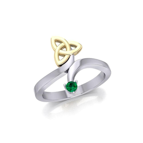 Celtic Trinity Knot with Round Gem Silver and Gold Ring MRI1788 peterstone.